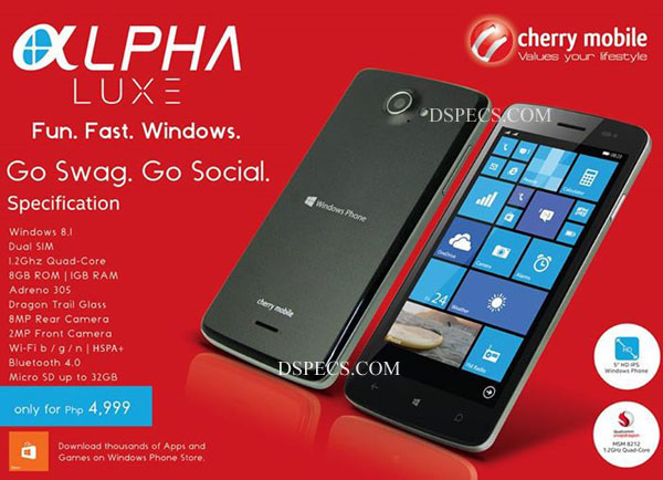 Cherry Mobile Alpha Luxe Features and Specifications