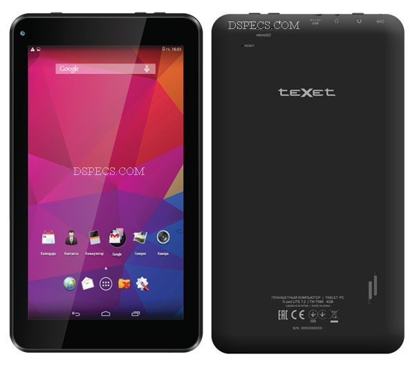 teXet X-pad LITE 7.2 TM-7086 Features and Specifications